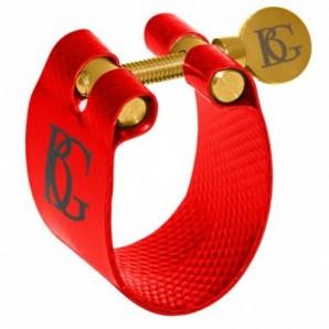 Abrazadera y boquillero BG FLEX LFA Roja para saxo alto