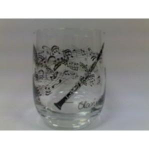 Vaso Cristal Pentagrama y Clarinet